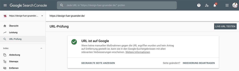 URL prüfen auf der Google Search Console