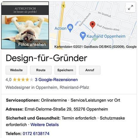 Unternehmen darstellen bei Google
