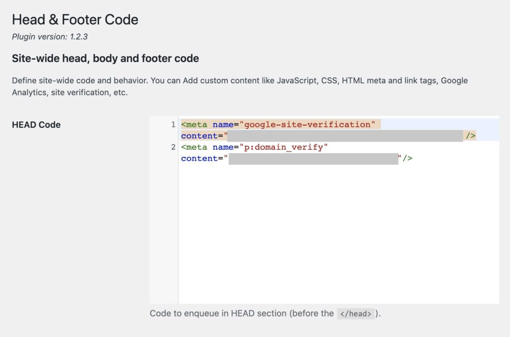 Property einrichten, Metatag in headcode kopieren